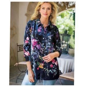 Soft Surroundings Jardim velvet floral shirt